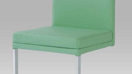 Jídelní židle SC-1816 GRN - nerez/koženka zelená