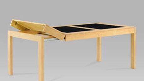 Jídelní rozkládací stůl AUT-594 BUK2 160+40+40x90 cm - buk/černé sklo