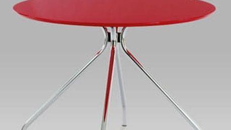 Jídelní stůl WD-5810 RED s pr. 100 cm - chrom/červený