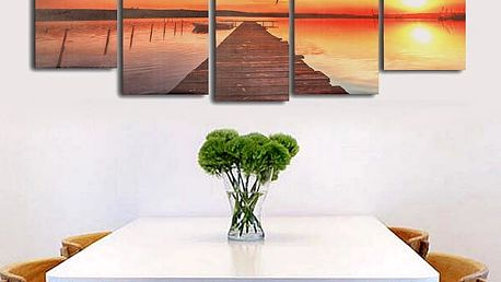 Bezrámový obraz s motivem jezera se zapadajícím slunce