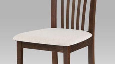 Jídelní židle BC-3950 ořech, potah krémový