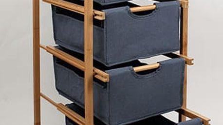 Regál bambusový 4-šuplíky (šuplíky v modré barvě)