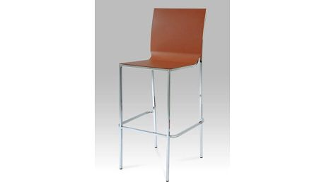 Barová židle CT-123-1 barva hnědá, chrom/plast