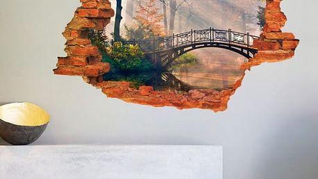 3D samolepka na zeď - Most v mlžném oparu - dodání do 2 dnů