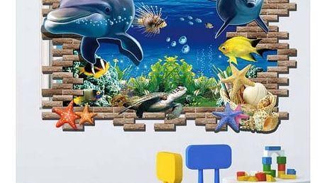 3D samolepka na zeď s delfíny - dodání do 2 dnů