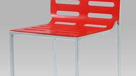 Jídelní židle CT-123-2 RED - chrom/plast červený