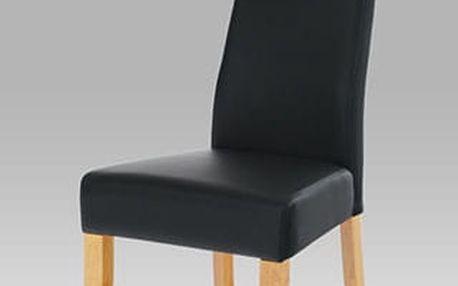 Jídelní židle BE21bk koženka černá / dub