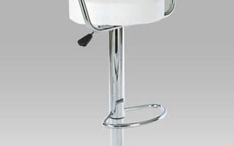 Barová židle AUB-308, chrom/koženka bílá