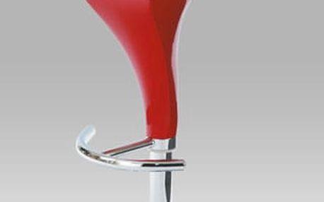 Barová židle AUB-310B, červený plast/chrom