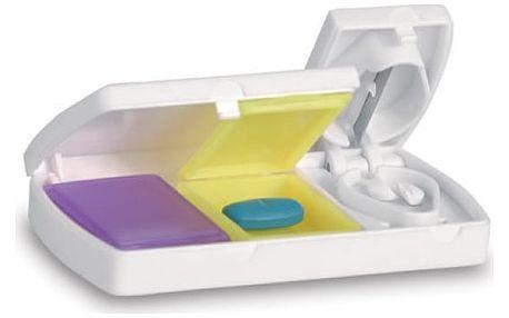 Plastová krabička na léky s kráječem - dodání do 2 dnů