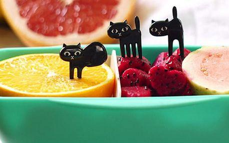 Napichovátka v podobě černých koček - 6 kusů