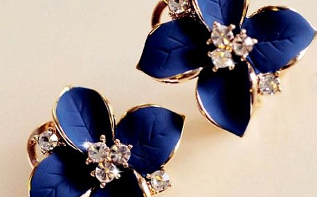 Modré náušnice s kamínky ve tvaru kytičky - dodání do 2 dnů