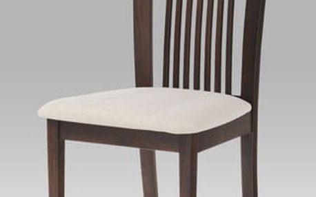 Jídelní židle BC-3940 barva ořech, potah krémový