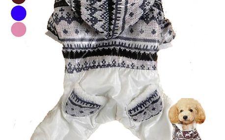 Zimní obleček pro psy - kávová - S