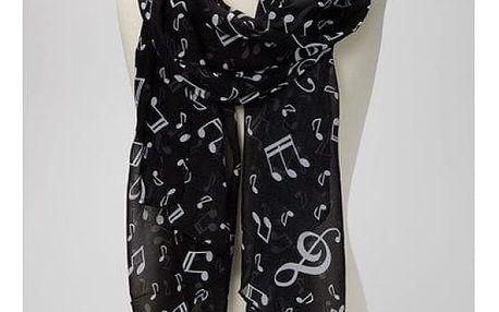 Dámský šátek s hudebním motivem - dodání do 2 dnů