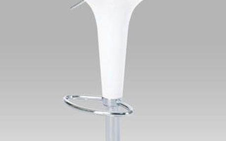 Barová židle AUB-9002 bílá/plast chrom