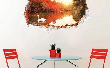 3D samolepka na zeď - Jezírko s labutí - dodání do 2 dnů