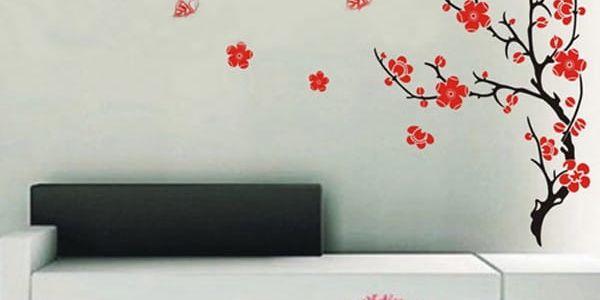 Nálepka na zeď - strom s červenými květy - dodání do 2 dnů