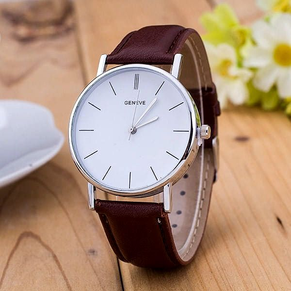Unisex hodinky s jednoduchým ciferníkem - hnědá - dodání do 2 dnů