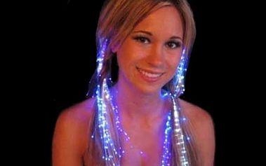 Svítící proužky do vlasů v barvě duhy