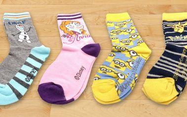 Dětské ponožky s motivy pohádkových hrdinů
