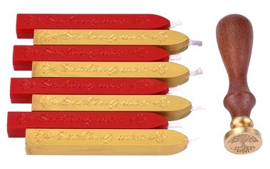 Pečetidlo s červeným a zlatým voskem