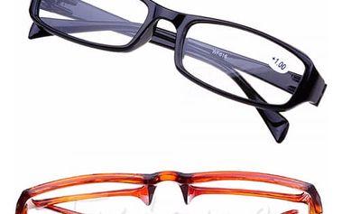 Slušivé dioptrické brýle na čtení v černé nebo hnědé barvě