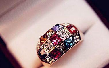 Dámský prsten s pestrobarevnými kamínky - dodání do 2 dnů