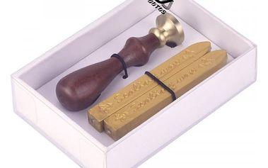 Pečetidlo s voskem ve zlaté barvě v dárkové krabičce