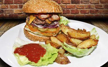 Poctivé burger menu s porcí amerických brambor
