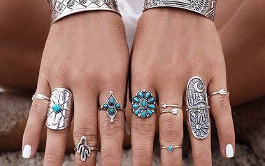 Sada vintage prstenů ve stříbrné barvě - 9 kusů - dodání do 2 dnů