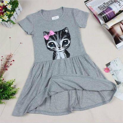 Dětské šatičky s roztomilou kočičkou - 2 barvy