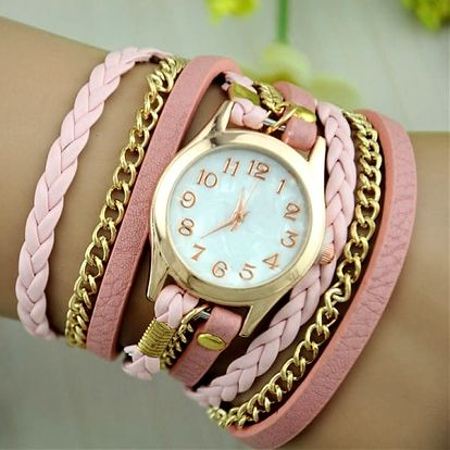Moderní hodinky s vícevrstvým koženkovým páskem
