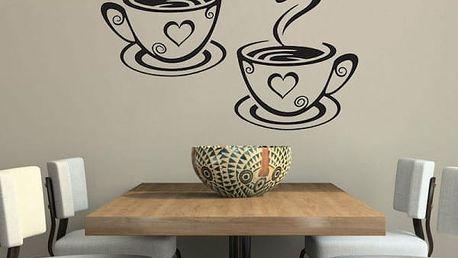 Samolepka na zeď - šálky kávy - dodání do 2 dnů