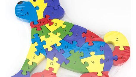 Dřevěné dětské puzzle pro rozvoj jemné motoriky Pes