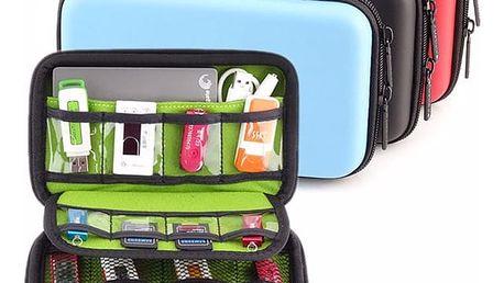 Cestovní pouzdro na flash disky, SD karty, externí disk a záložní zdroj