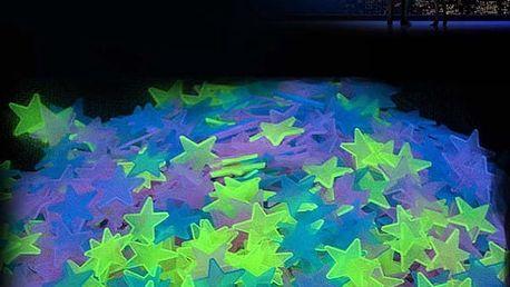 Fosforové samolepky ve tvaru hvězd - 100 kusů