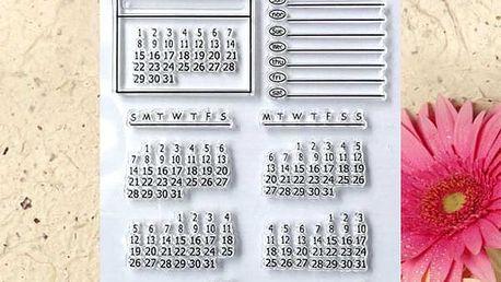 Sada razítek pro vytvoření kalendáře s řádkami na poznámky