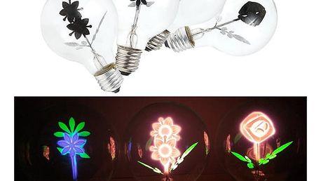 Vintage LED žárovka se zářivou květinou uvnitř a závitem E27