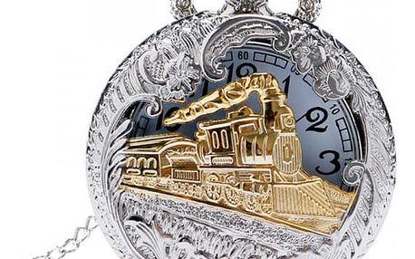 Retro kapesní hodinky s motivem lokomotivy