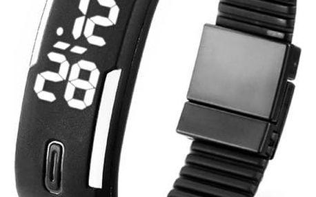 Silikonové digitální hodinky v podobě náramku - černá - dodání do 2 dnů