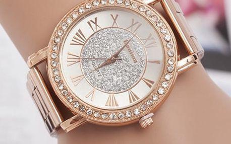 Ležérní dámské hodinky ve zlaté barvě