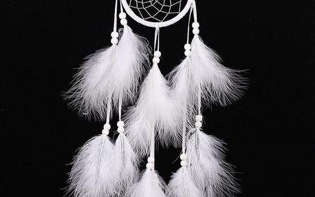 Indiánský lapač snů s bílými pery - dodání do 2 dnů