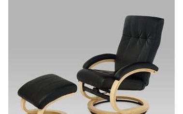 Relaxační křeslo s taburetem TV-8763 BK - natural/koženka černá