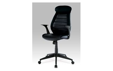 Kancelářská židle KA-T213 BK - koženka/černá látka
