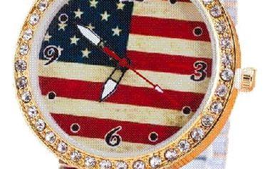 Vintage hodinky s elastickým páskem - vlajka USA - dodání do 2 dnů