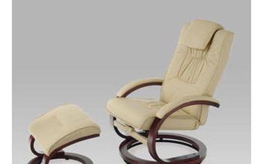 Relaxační křeslo s taburetem TV-8714 CAP - koženka cappuccino/ořech