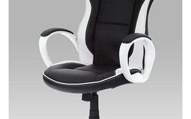 Kancelářská židle KA-E510 BK - koženka černo-bílá