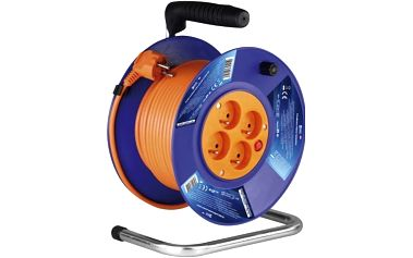 Kabel prodlužovací na bubnu EMOS 4x zásuvka, 25m modrý