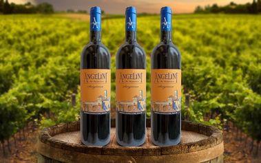 3 lahve červeného vína ze slunné střední Itálie